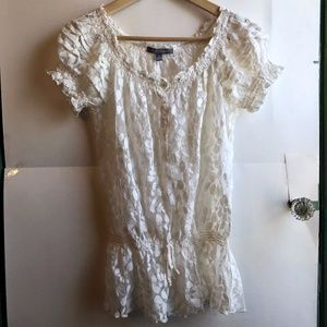 NY COLLECTION White Floral Mesh Peasant Blouse Top